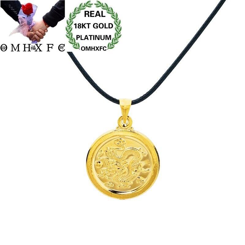 OMHXFC Wholesale European Fashion Woman Man Unisex Party Birthday Wedding Gift Round Dragon 18KT Real Gold Charm Pendant PN81