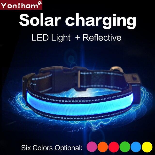 Collare di cane di Nylon Solare USB Ricaricabile LED Collare Luce di Notte di Si