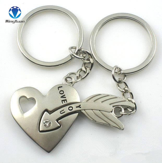 1Pair Couple Keychain Piercing Heart Key Ring Silver Plated Lovers Love Key Chain Souvenirs Valentine's Day Gift C377