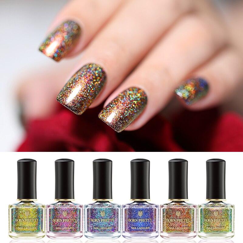 eae8303205 Nacido muy 6 ml holográfica esmalte de uñas de Holo Pavo Real barniz de uñas  colores negro de una Base de