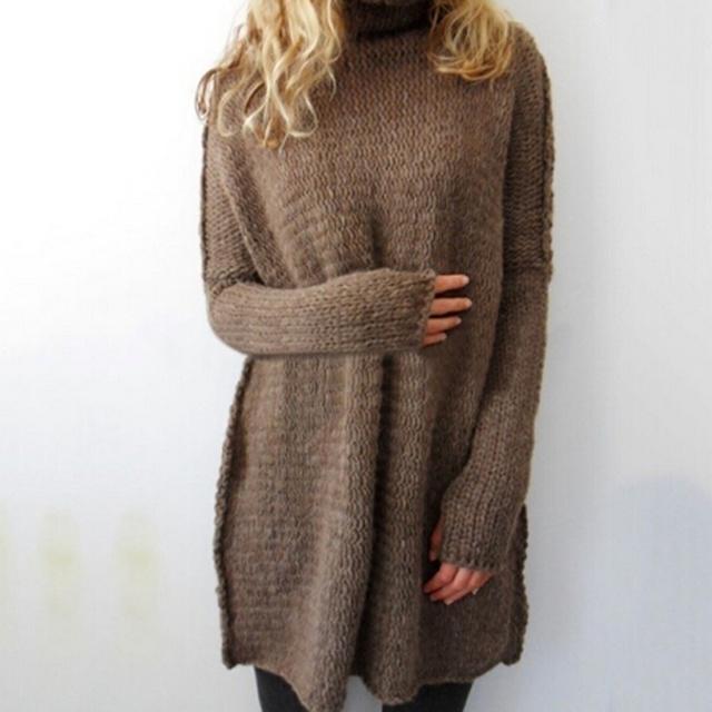 Moda de las nuevas mujeres de Otoño invierno de Cuello Alto suéter Gruesos Suéteres Calientes de gran tamaño color sólido Flojo géneros de punto del suéter Largo