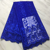 HFX High Quality Nigerian Tulle Lace Royal Blue Embroidered Net Lace Fabric with Beads Cheap French Mesh Lace Fabric X1259 3