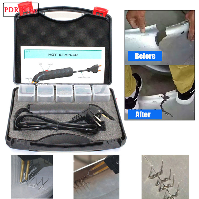 LED Hot Stapler Repair Kit Car Autos Exterior Bumper Welder Gun with Hot Staples plastic welding machine tools kit