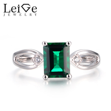 Leige Jewelry Emerald Rings Unique Wedding Rings May Birthstone 925 Sterling Silver Emerald Cut Green Gems Rings Gifts for Women