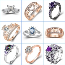 Women Fashion Zircon Crystal Ring Creative Gem Wedding Banquet Couple Finger Jewelry