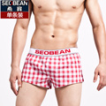 Seobean men's plaid shorts home woven 100% cotton loose boxer  breathable cotton shorts 4 colors size  M/L/XL/XXL
