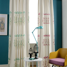 Modern contracted style % cotton embroider clean curtain adornment living room, bedroom curtain tonal custom colour