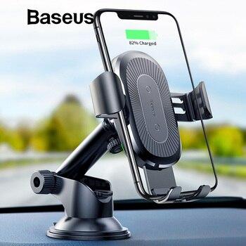 Baseus 2 in1 Qi Kablosuz Araba iphone şarj cihazı X XS XR Samsung S9 Hızlı kablosuz şarj makinesi araç tutucu Cep telefon tutucu