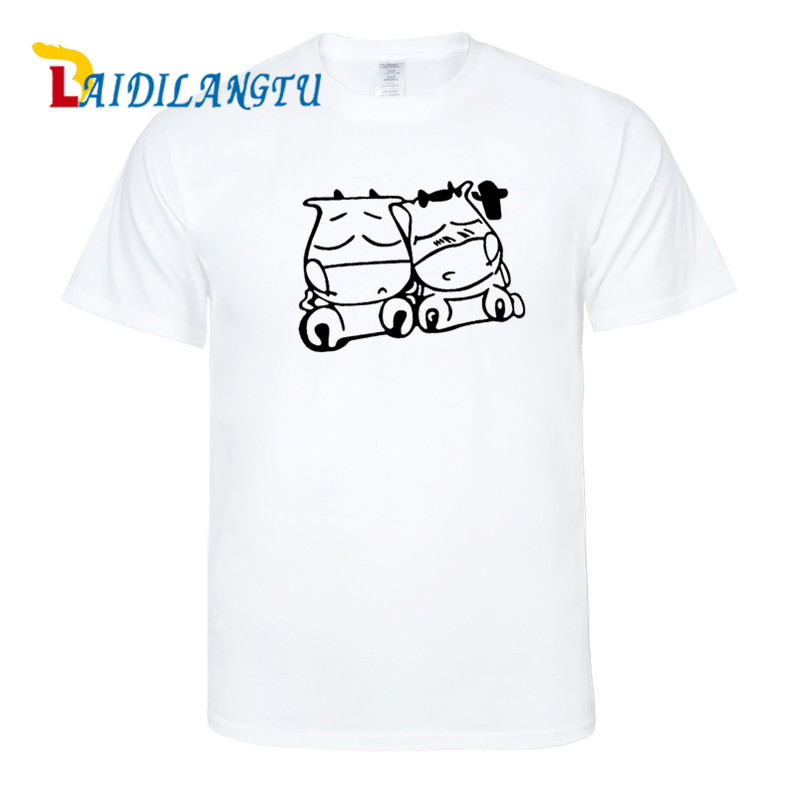 mens t shirts fashion 2018 oversized t shirt Two cute cows WOW MT cows T-shirt Summer Men/Boys Cartoon Cool Short Sleeve Tee