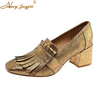 Gold Chunky Heels Metallic Womans Pumps Square Toe Ladies Shoes Fringe Slip On Spring Classics Fashion Mature Large Size 15 16