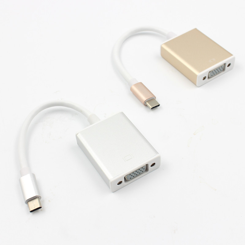 USB 3.1 Type C USB-C to VGA Adapter Reversible for New Macbook 12 inch Gold, silver color free shipping UM