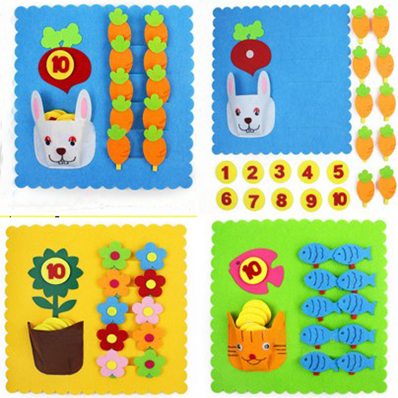 Pretty Flower Cat & Rabbit Clip Number Early Leanring Felt Fabric ...