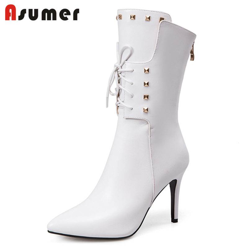 ASUMER HOT 2018 fashion cross tied mid calf boots for women zipper genuine leather boots stiletto heels pointed toe autumn boots fashion tassel and cross straps design mid calf boots for women