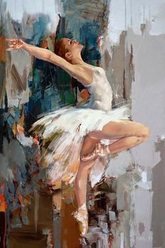 Impressionist Canvas Art Gallery Ballerina Oil Painting by Mahnoor Mano Shah Ballet Dancer Paintings Portrait 100% Hand Painted