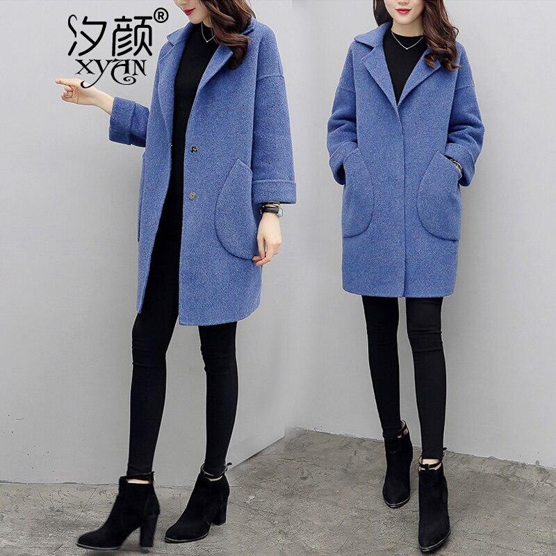 Abrigo largo de lana para mujer otoño ropa azul - 2