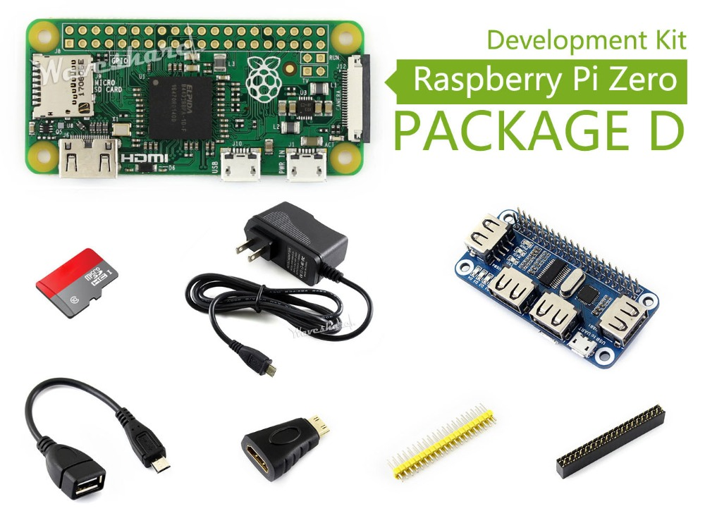 Raspberry Pi Zero Package D Basic Development Kit Micro SD Card, Power Adapter, USB HUB, and Basic Components raspberry pi zero w package e basic development kit 16gb micro sd card power adapter 2 13inch e paper hat and basic components