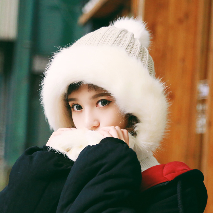 Korean Fashion Double Thicken Hat Solid Color Women Wool Caps Winter Japanese Cute Knitting Warm And Windproof Snow Ushanka gift children knitting wool hat cute keep warm rabbit beanie cap autumn and winter hat with earflaps whcn