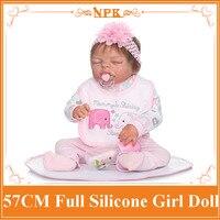 57 CM NPK Đầy Đủ Silicone Body Reborn Baby Girl Doll Sống Động Ngủ trẻ sơ sinh Công Chúa Búp Bê Cô Gái Chơi Nhà Boneca Kids Tắm đồ chơi