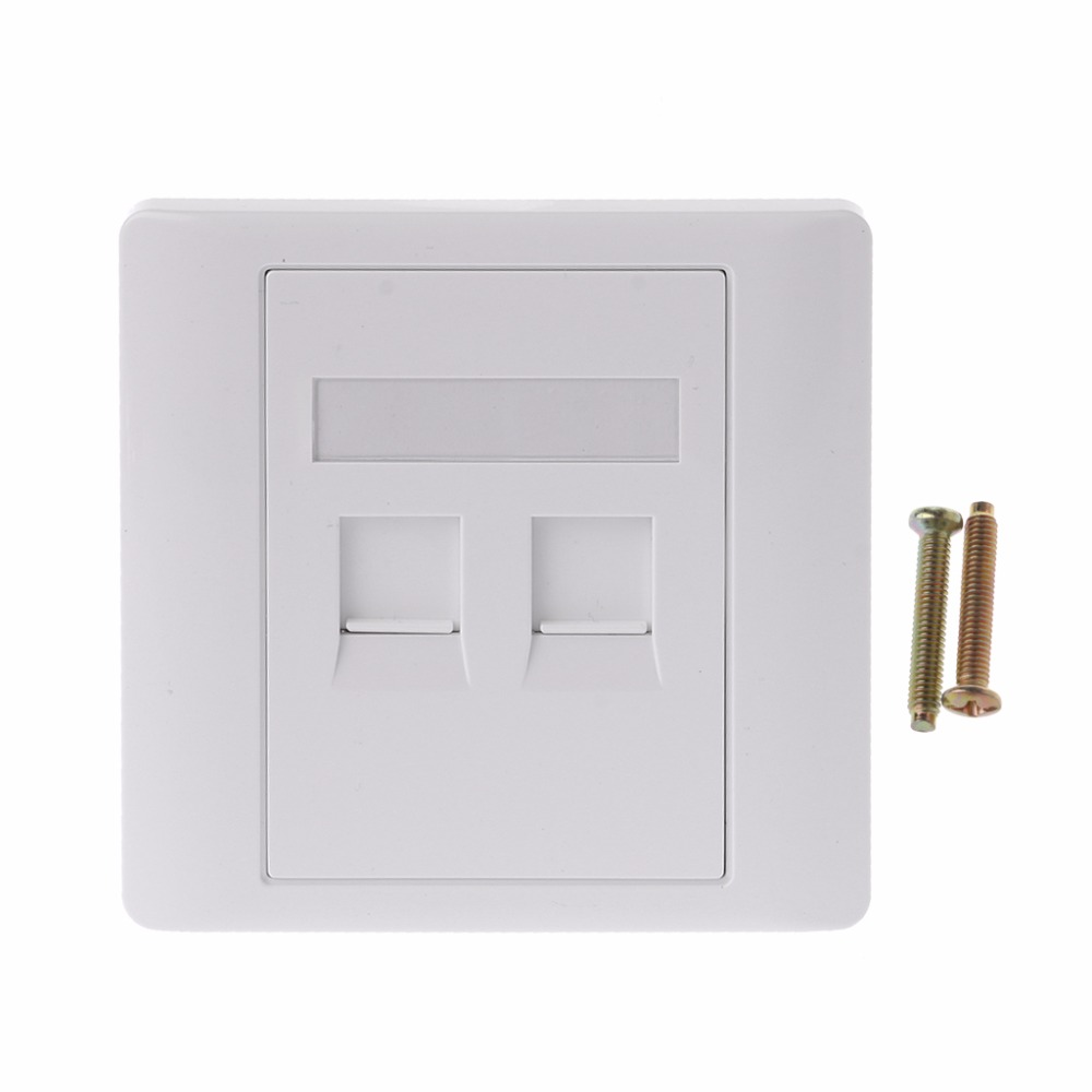 1set 2 Ports CAT5 RJ45 Network Wall Plate With Female To Female Connector
