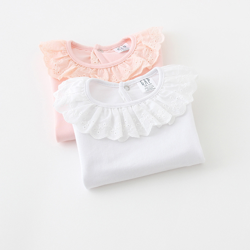 2019 spring girls bottoming shirt children cotton wild Lotus collar T-shirt factory direct  2-7 year 1