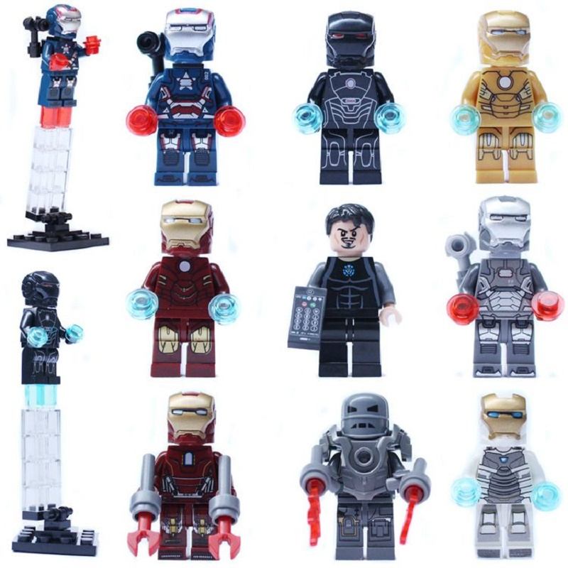 Single Sale Super Heroes Iron Man Hulk Buster Tony Stark War Machine Building Blocks Bricks Toys for children Decool 0160-0168 super heroes single sale the villain of yellow lantern skeletor heman he man he man building blocks toys for children gift kf921