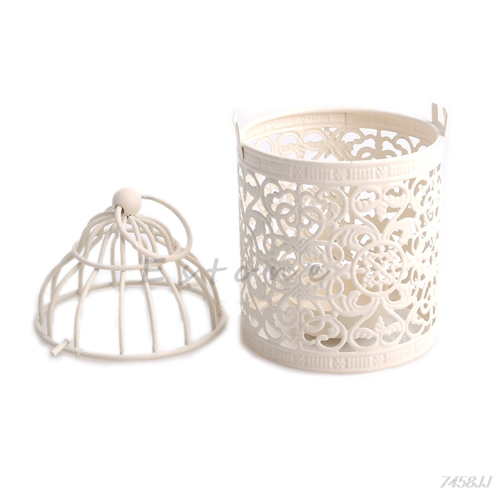 Luxury Creative Hollow Hanging Bird Cage Candle Holder Candlestick ...