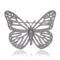 Luxury Large Butterfly Crystal Collar Lapel Pin Brooches For Women Scarf Pins And Brooches Fashion Jewelry