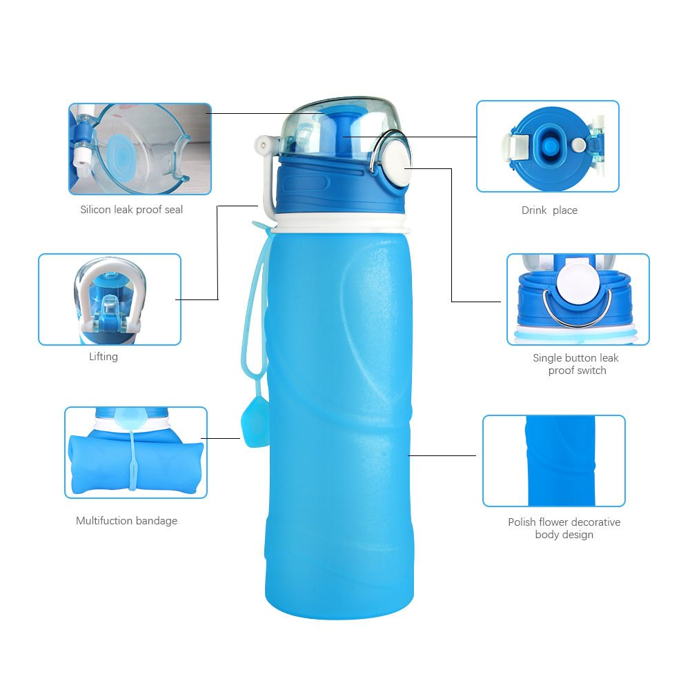 600ml Collapsible Folding Drink Water Bottle Kettle Cup Silicone Travel Sports