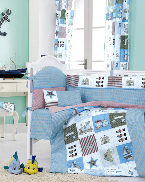 8 Pieces Crib Baby Bedding Set Blue Train Nursery Cot Ropa De Cama Per