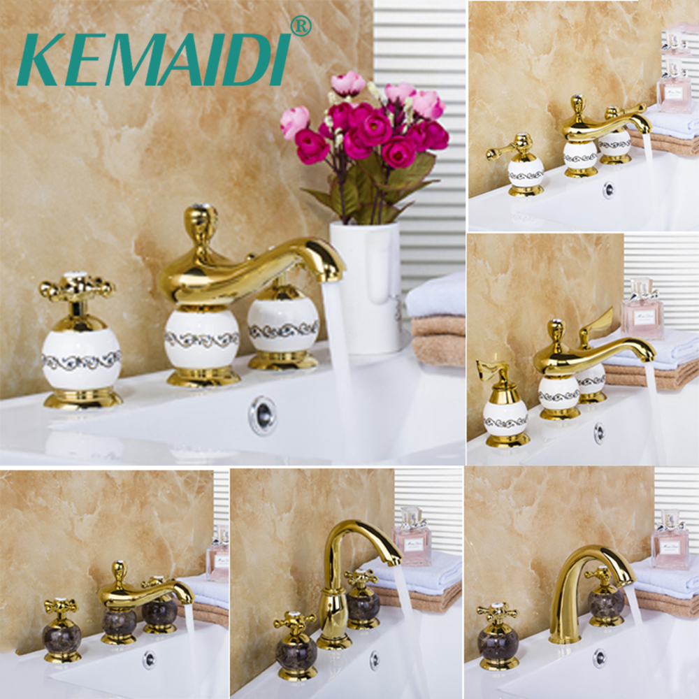KEMAIDI Ceramic  Faucet Deck Mount Golden Spray 3 Pieces Shower Bathroom Wash Basin Mixer Sink Brass Bathtub Torneira Tap Faucet kemaidi new modern wall mount shower faucet mixer tap w rain shower head