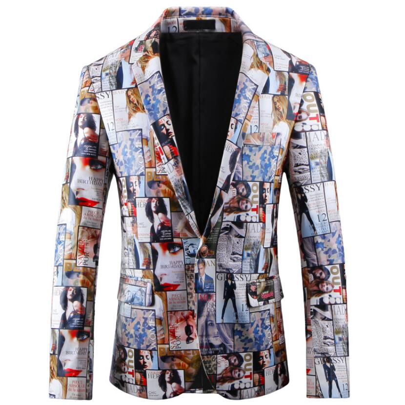 2018 New Spring Fashion Printing Mens Blazers And Suit Jackets Big Size Stage Costumes Blazer Men Brand JS-01636