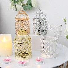 Candelabro de 4 estilos, candelabro hueco, candelabro colgante, farol, jaula para pájaros, Vintage, forjado, nueva decoración portátil para el hogar
