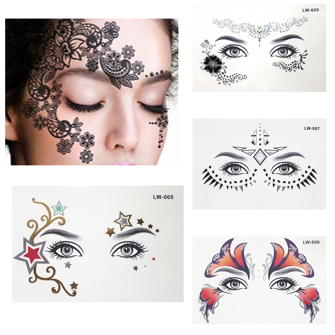 Hot Stamping Face Forehead Eye Makeup Tattoo Sticker Temporary Tatoo Fake Tatto Body Art Cosmetic Tattoo Supplies For Girl Boy