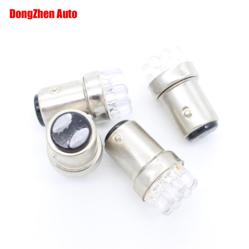 Dongzhen 1157 BAY15D P21 5w S25 9 LED 1016 7528 12v Auto Turn Brake Stop Tail Parking Light Double Contact White 1pcs
