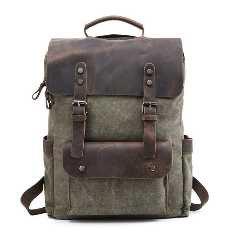 M201 Vintage Multifunction Canvas Leather Backpacks for Men Laptop Daypacks Canvas Rucksacks Large Travel Backpack Back