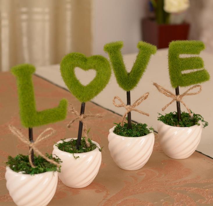 LOVE Style Green Plant With Vase Fake Flower Bonsai Artificial Bonsai Wedding Decoration Desk Office Garland Decor