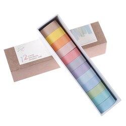 1 conjunto de 12 cores washi conjunto fita adesiva decoração fitas mascaramento adesivos diário álbum artigos de papelaria material escolar
