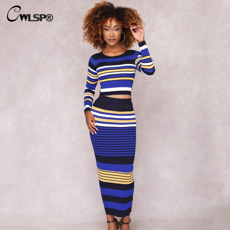 Casual Two piece set Knitted Striped dress Ribbed 1