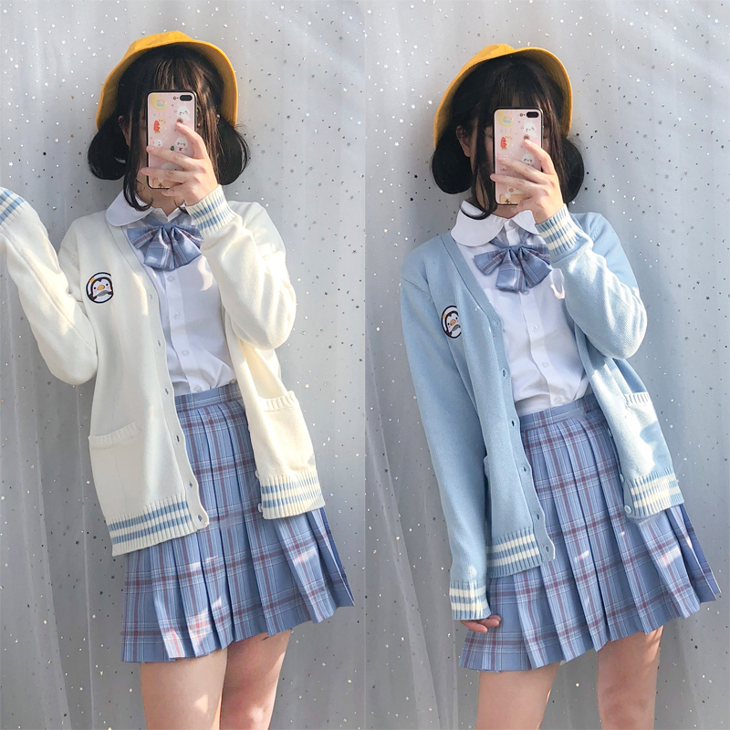 Mori Di blu Pannello Lunghe Vestito Del Giappone Jk Esterno Maglione 2019 Tre piece Suit A Bianco Nuova Camicia Uniforme Maniche Ragazza Studente Stile EqBOp