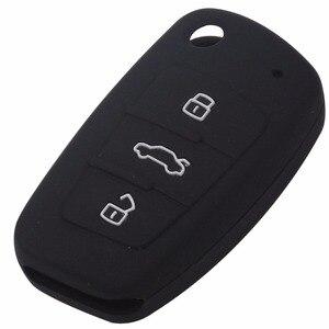 Image 3 - Jingyuqin housse pour clés de voiture à 3 boutons, en Silicone, housse pour clé de voiture, pour Audi A1, A3, Q3, Q7, R8, A6L, TT