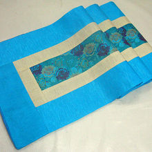 200*33 см благородная китайская винтажная Смешанная парча и шелк красивого голубого цвета скатерть и покрывало
