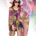 Floral New Fashion Anti Sol Cachecol Frete grátis 100% Seda sentindo Praia Wraps Xaile Roubou Envoltório Hijab Muçulmano Cachecol Longo lenços