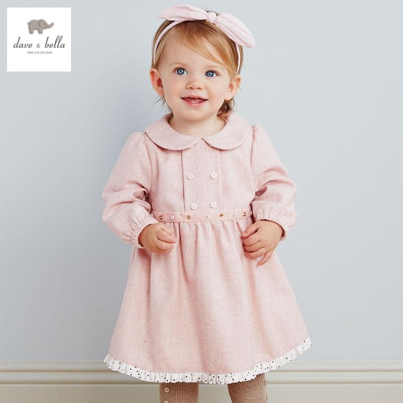 DB2788 dave bella  autumn girls fairy dress toddler padded dress baby clothes infant dress girls wadded dresses разноцветная мозаика зайчонок 2788