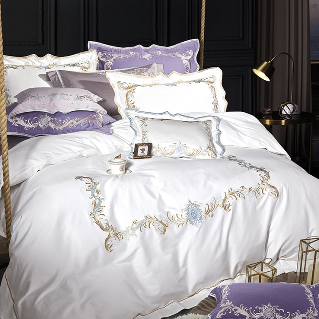 Golden Embroidery Sheet Pillowcase And Duvet Cover Sets Egyptian Cotton Bedlinen Queen King Size White Gray Purple Bedding Set