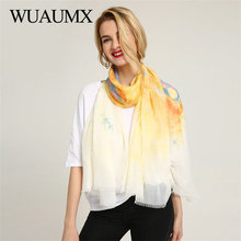 Wuaumx Brand Scarf Women Multicolor Butterfly Pattern Ladies Scarfs Wraps Spring Thin Long Scarves Shawl foulard femme Hijab