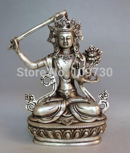 002163 Tibet Buddhism HANDWORK Silver Manjushri Bodhisattva Buddha Statue