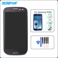 Blue LCD Display For Samsung Galaxy S3 i9300 Touch Screen Digitizer with Home Button Assembly+Bezel Frame+Tempered glass+Tools