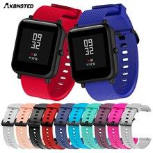 AKBNSTED 20 мм сменный силиконовый ремешок для Xiaomi Huami Amazfit Bip Youth Sport Watch Band аксессуары для Amazfit Bip
