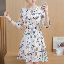 New 2019 summer Women dress half sleeve loose Floral chiffce tops flower print women shirts o-neck sexy clothing 91C2