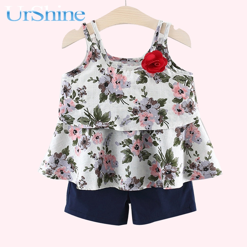 The New Girls Halter Print Tops And Shorts Summer 2018 Are Two Pieces Of Baby Shower Suit Chidren Clothing Cotton Fashion
